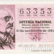 Lotería Nacional: DÉCIMO LOTERÍA NACIONAL. SORTEO Nº 46. 21-11-81. JOSÉ ECHEGARAY. REF. 9-81-46. Lote 97707911
