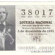 Lotería Nacional: DÉCIMO LOTERÍA NACIONAL, SORTEO Nº 48. 5-12-81. RECITAL POÉTICO. REF. 9-81-48. Lote 97708347