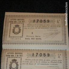 Lotería Nacional: LOTERÍA NACIONAL DOCE DE ENERO DE 1927, DIEZ PESETAS. Lote 97745147