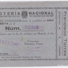 Lotería Nacional: PARTICIPACIÓN LOTERÍA NACIONAL. 14 FEBRERO 1946. FRANCISCO TORRE. CALLE QUINTANA, 16. LINARES. Lote 98799655