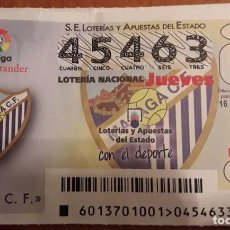 Lotería Nacional: LOTERIA NACIONAL, SORTEO MÁLAGA C.F. . Lote 98800603