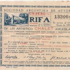 Lotería Nacional: RARA RIFA DE LA SOCIEDAD ARGENTINA DE AUTORES DEL 1929 DE UNA CASA COMPLETA AMUEBLADA -22 X 15,5 CM. Lote 98805239