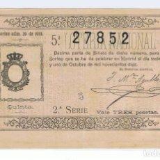 Lotería Nacional: DECIMO LOTERIA NACIONAL AÑO 1910 SORTEO 29. Lote 98940447
