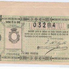 Lotería Nacional: DECIMO LOTERIA NACIONAL AÑO 1910 SORTEO 33. Lote 98940651