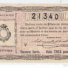 Lotería Nacional: DECIMO LOTERIA NACIONL AÑO 1913 SORTEO 11. Lote 98955979