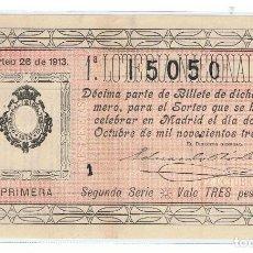 Lotería Nacional: DECIMO LOTERIA NACIONL AÑO 1913 SORTEO 26. Lote 98957347