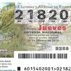 Lotería Nacional: LOTERIA NACIONAL - 20 FEBRERO 2014 - TORRENTES PEDRAGOSOS - RIO PIREINAICO. Lote 99006931