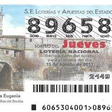 Lotería Nacional: LOTERIA NACIONAL - 15 AGOSTO 2013 - IGLESIA DE SANTA EUGENIA - VILLEGAS - BURGOS. Lote 99017039