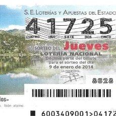 Lotería Nacional: LOTERIA NACIONAL - 9 ENERO 2014 - AGUAS Y RIOS - ANDORRA. Lote 99018315
