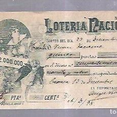 Lotería Nacional: LOTERIA NACIONAL. PARTICIPACION DE 15 PESETAS. 1898. VER. Lote 99021343