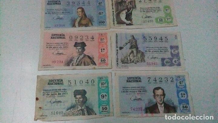 6 DECIMOS DE LOTERÍA NACIONAL DEL AÑO 1971, DE TOREROS ANTIGUOS. (Coleccionismo - Lotería Nacional)