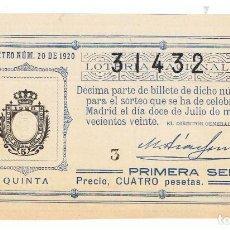 Lotería Nacional: DECIMO LOTERIA NACIONAL AÑO 1920 SORTEO 20. Lote 99168735