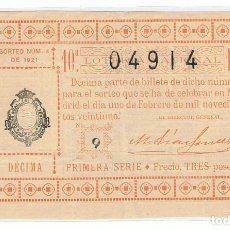 Lotería Nacional: DECIMO LOTERIA NACIONAL AÑO 1921 SORTEO 4. Lote 99240095