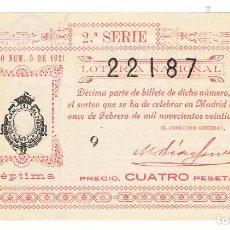 Lotería Nacional: DECIMO LOTERIA NACIONAL AÑO 1921 SORTEO 5. Lote 99240187