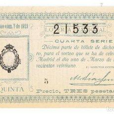 Lotería Nacional: DECIMO LOTERIA NACIONAL AÑO 1921 SORTEO 7. Lote 99240379