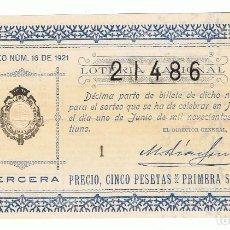 Lotería Nacional: DECIMO LOTERIA NACIONAL AÑO 1921 SORTEO 16. Lote 99243163