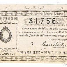 Lotería Nacional: DECIMO LOTERIA NACIONAL AÑO 1921 SORTEO 17. Lote 99243287