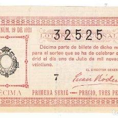 Lotería Nacional: DECIMO LOTERIA NACIONAL AÑO 1921 SORTEO 19. Lote 99243427