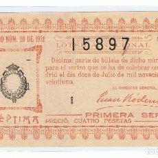 Lotería Nacional: DECIMO LOTERIA NACIONAL AÑO 1921 SORTEO 20. Lote 99243515
