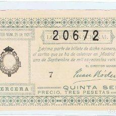 Lotería Nacional: DECIMO LOTERIA NACIONAL AÑO 1921 SORTEO 25. Lote 99243827