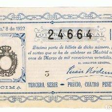 Lotería Nacional: DECIMO LOTERIA NACIONAL AÑO 1922 SORTEO 8. Lote 99267891