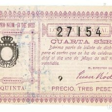 Lotería Nacional: DECIMO LOTERIA NACIONAL AÑO 1922 SORTEO 13. Lote 99268163