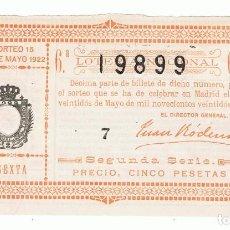 Lotería Nacional: DECIMO LOTERIA NACIONAL AÑO 1922 SORTEO 15. Lote 99268215