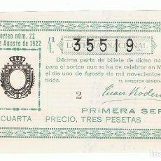 Lotería Nacional: DECIMO LOTERIA NACIONAL AÑO 1922 SORTEO 22. Lote 99268571