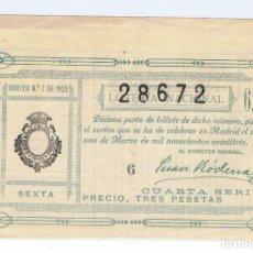 Lotería Nacional: DECIMO LOTERIA NACIONAL AÑO 1923 SORTEO 7. Lote 99295519