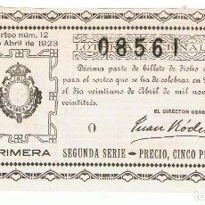 Lotería Nacional: DECIMO LOTERIA NACIONAL AÑO 1923 SORTEO 12. Lote 99295675