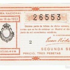 Lotería Nacional: DECIMO LOTERIA NACIONAL AÑO 1923 SORTEO 16. Lote 99295843