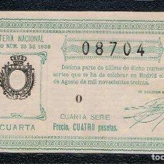 Lotería Nacional: DECIMO LOTERIA NACIONAL AÑO 1930 SORTEO 23. Lote 99889079