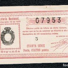 Lotería Nacional: DECIMO LOTERIA NACIONAL AÑO 1930 SORTEO 32. Lote 99889919