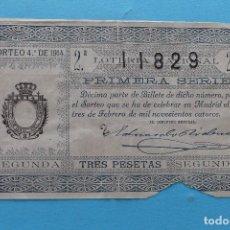 Lotería Nacional: DECIMO LOTERIA NACIONAL - AÑO 1914 - SORTEO 4 (3 FEBRERO) - VER FOTOS ANVERSO Y REVERSO. Lote 99999811
