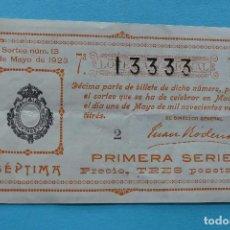 Lotería Nacional: DECIMO LOTERIA NACIONAL - AÑO 1923 - SORTEO 13 (1 MAYO) - VER FOTOS ANVERSO Y REVERSO. Lote 100002791
