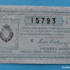 Lotería Nacional: DECIMO LOTERIA NACIONAL - AÑO 1923 - SORTEO 19 (2 JULIO) - VER FOTOS ANVERSO Y REVERSO. Lote 100002951