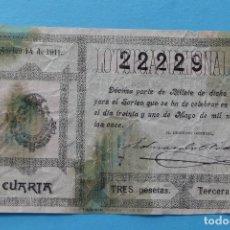 Lotería Nacional: DECIMO LOTERIA NACIONAL - AÑO 1911 - SORTEO 14 (31 MAYO) - VER ANVERSO Y REVERSO. Lote 100005227