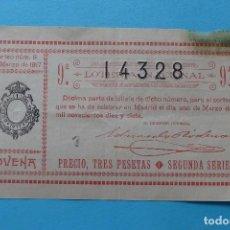 Lotería Nacional: DECIMO LOTERIA NACIONAL - AÑO 1917 - SORTEO 6 (1 MARZO) - VER ANVERSO Y REVERSO. Lote 100005491