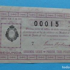 Lotería Nacional: DECIMO LOTERIA NACIONAL - AÑO 1921 - SORTEO 17 (11 JUNIO) - VER ANVERSO Y REVERSO. Lote 100005907