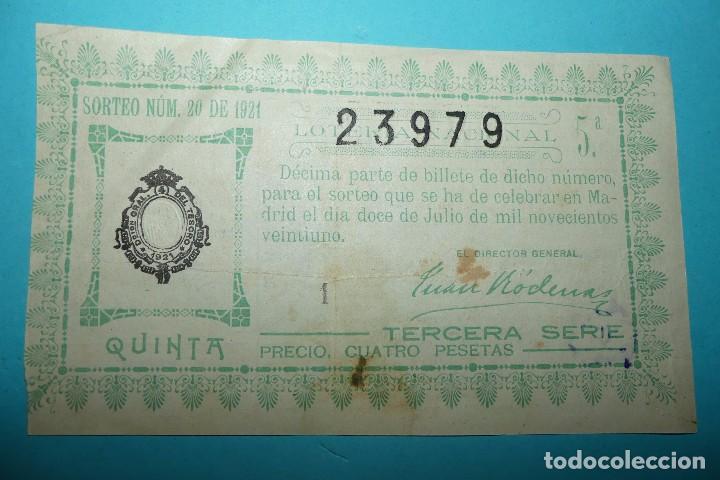 DECIMO LOTERIA NACIONAL - AÑO 1921 - SORTEO 20 (12 JULIO) - VER ANVERSO Y REVERSO (Coleccionismo - Lotería Nacional)