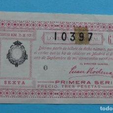 Lotería Nacional: DECIMO LOTERIA NACIONAL - AÑO 1921 - SORTEO 25 (1 SEPTIEMBRE) - VER ANVERSO Y REVERSO. Lote 100006015