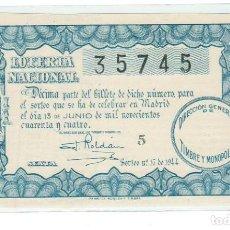 Lotería Nacional: DECIMO LOTERIA NACIONAL AÑO 1944 SORTEO 17. Lote 100867887