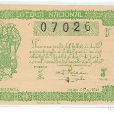 Lotería Nacional: DECIMO LOTERIA NACIONAL AÑO 1945 SORTEO 17. Lote 100914471