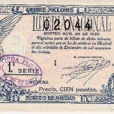 Lotería Nacional: LOTERIA NACIONAL 1930 SORTEO NUMERO 36 DE NAVIDAD . Lote 101081523
