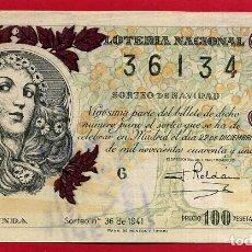 Lotería Nacional: LOTERIA NACIONAL, DECIMO, SORTEO 36 , 22 DICIEMBRE 1941 , ORIGINAL , LOT32. Lote 101772351