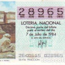 Lotería Nacional: ESPAÑA. LOTERÍA. 1984. SORTEO: 26 C. TOLTECA: PALACIO DEL GOBERNADOR. UXMAL. FECHA: 7 JULIO. EL NÚME. Lote 102129631
