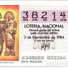Lotería Nacional: ESPAÑA. LOTERÍA. 1984. SORTEO: 43 C. TOLTECA: PERSONAJES MITOLÓGICOS. FECHA: 3 NOVIEMBRE. EL NÚMERO. Lote 102129910
