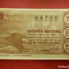 Loterie Nationale: LOTERIA NACIONAL DE ESPAÑA - SORTEO Nº 6 DE 1965 - 25 DE FEBRERO - 44750 - ADMON. 11 - VALENCIA. Lote 102218207