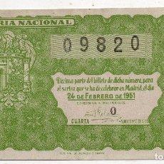 Lotería Nacional: DÉCIMO. SORTEO Nº : 6 DE 1951.. Lote 102257287