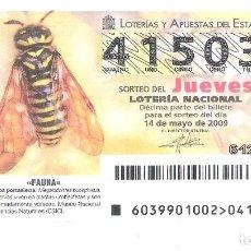 Lotería Nacional: 1 DECIMO DE LOTERIA JUEVES - 14 MAYO 2009 - 39/09 - FAUNA - INSECTOS - AVISPA PORTASIERRA. Lote 61822764